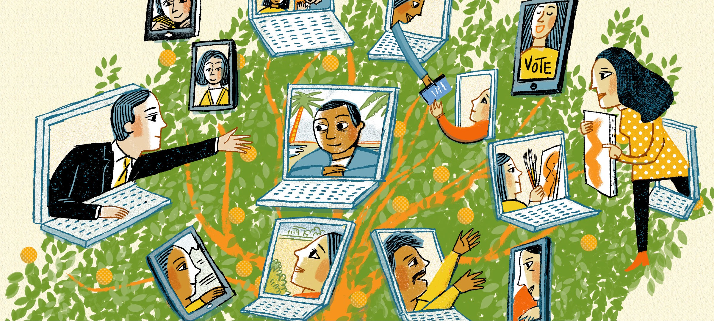 illustration of tree with laptops and devices